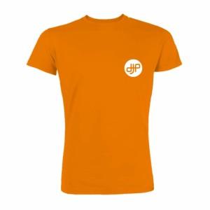 Camiseta-hombre-dj-productor-naranja-frente