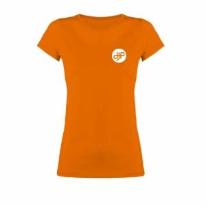 Camiseta-mujer-dj-productor-naranja-frente